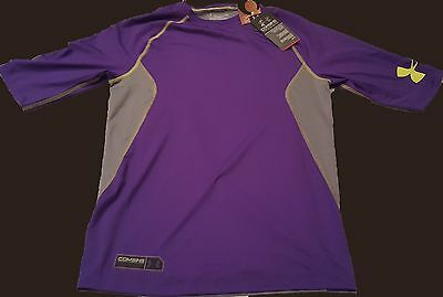 New Under Armour Heat Gear Compression Mens Shirt Combine Training Purple Gray L