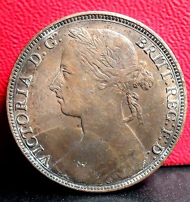 Very Nice Better Grade 1882 H Victoria Great Britain One Penny