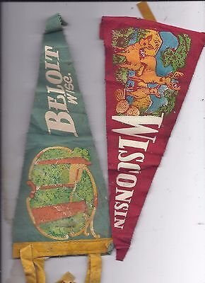 Lot of 2 Vintage Small Pennant WISCONSIN