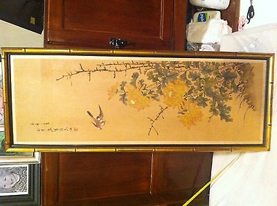 Large Old Vintage authentic Asian Wall decor wood Trees bird