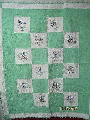 Vintage 1940's to 50's Child's Baby Quilt Embroidered Blue Birds sawtooth edge