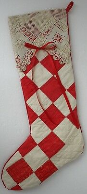 """17"""" Christmas Stocking Made of Antique Red/White Quilt & Lace - Vintage"""