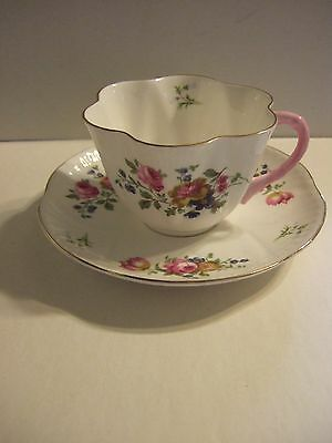 Vintage Shelley Cup and Saucer dainty  rose and bluebell