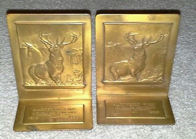 VINTAGE The Hartford Fire Insurance Brass Advertising Book Ends 1810 - 1935 SIGN