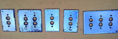 5 Vintage Blue Mirror Glass Pushbutton Switch Plates 1920's