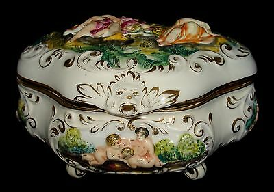 Vtg Capodimonte Large Footed Dresser Hinged Trinket Box High Relief Cherubs