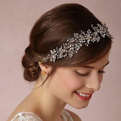 Elegant Beaded Bridal Halo Crystal Vine Silver Headpieces Wedding Headband 1 PC