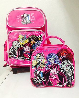 "Monster High Rolling Backpack with Detachable Wheeled Trolley 16"" Plus Lunch Bag"