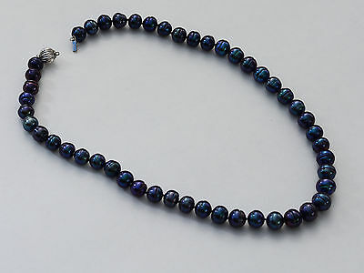 Honora 14k White Gold Clasp Black Peacook Freshwater Ringed Pearl Necklace