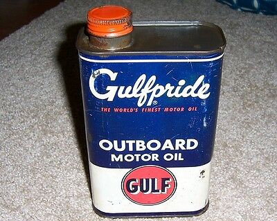 Vintage Gulfpride Outboard Motor Oil Can. Very Nice Condition, Gulf