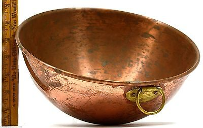 "VTG/Antique FRENCH CHOCOLATE MIXING BOWL 10.5"" Heavy COPPER w BRASS RING Patina!"