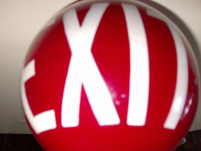 RUBY RED GLASS MOVIE THEATRE EXIT SIGN LAMP SHADE 1930's art deco GLOBE LIGHT