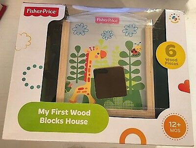 """New Fisher Price """"My First Wood Blocks House""""..3B"""