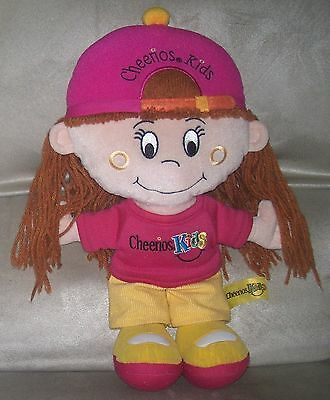 "General Mills CHEERIOS KIDS 13"" Plush Girl w/ Red Yarn Hair, Pink Yellow Outfit"