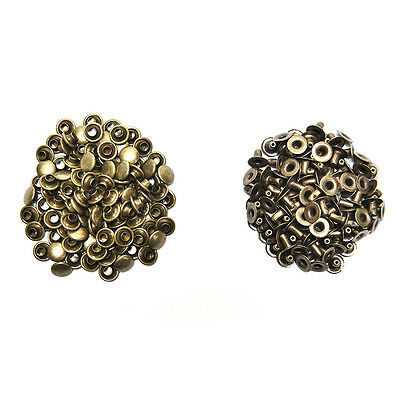 100X 3 Sizes Brass Double Cap Leather Craft DIY Rapid Rivet Studs for Belts  SN