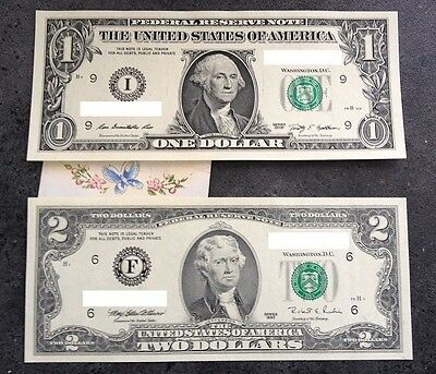 1x $1+ 1x$2 US DOLLAR American Notes Uncirculated Boston USA Bank Note