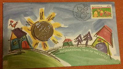 Australia International Year of The Family - FDC Stamp & 50 Cent Nice Coin!
