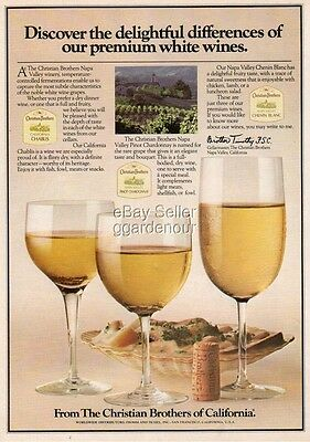 1979 Christian Brothers Wine Napa Valley CA Chablis Pinot Chardonnay Print Ad