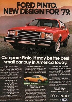 1979 Ford Pinto Runabout Photo Vintage Magazine Print Car Ad
