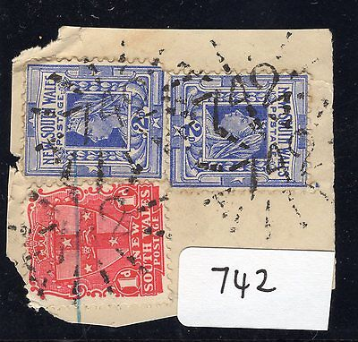 New South Wales Postmark numeral 742  Anvil Creek 3 strikes complete on piece