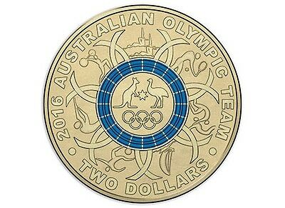 BLUE $2 Two Dollar Australian Issue RIO 2016 Olympic Games Coin
