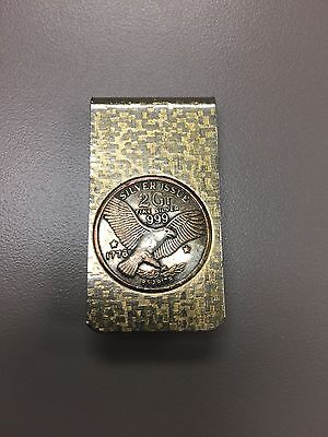 Vintage Money Clip Two Gram Silver Issue Coin Bezel .999 Gold Tone