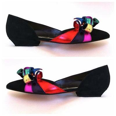 80's Vintage BEVERLY FELDMAN Psychedelic CURLY suede leather shoes 8 New