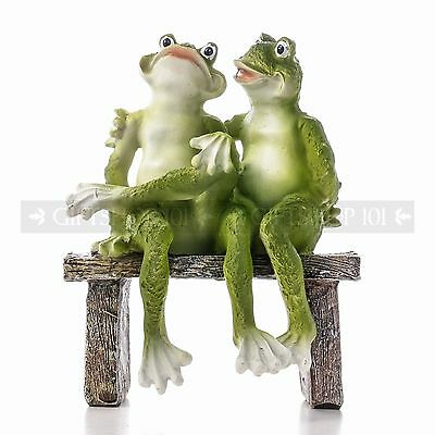 Adorable Frog Couple on Bench Garden Figurine Decoration Indoor Nature Statue