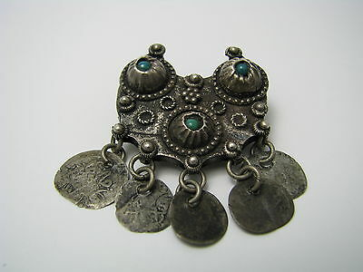 ARABIC ISLAMIC SILVER BROOCH PIN FILIGREE TURQUOISE Persia Middle East 1900s