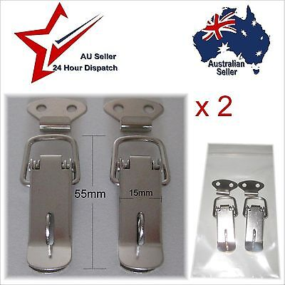 Small Steel Spring Toggle Latches with Padlock Ring x 2 - Box Chest Case Latch