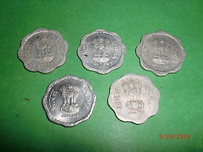 "- India - 5  X  "" 10 Paise ""  Old  Coins -Smal L- Rare - 1983 -1987 # 5Cc"