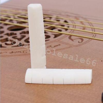 Guitar Bone Bridge Saddle And Slotted Nut Ivory For 6 String Acoustic Guitars A+
