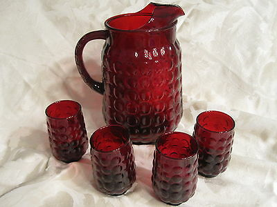Anchor Hocking Royal Ruby Red Depression Bubble Glass Pitcher & 4 Juice Glasses
