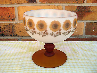 1970s? Frosted White&Amber Glass Large Compote Dish. Sunflowers. Italy, Exc Cond