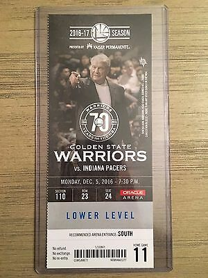 Mint NBA Golden State Warriors vs Pacers 12/5/2016 Ticket Stub - Klay 60 points!