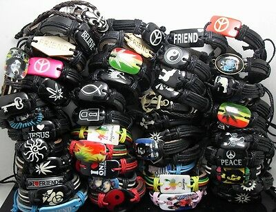 50pcs Top Styles Mixed Men Women Fashion Leather Bracelets Wristbands Wholesale