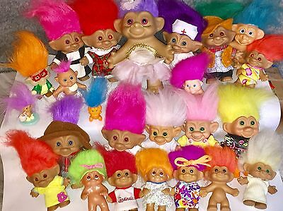 VINTAGE Troll Dolls Lot Set of 25 DAM, ACE, TNT, FOREST, RUSS, MISC, All Sizes