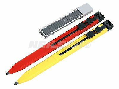 2pc Retractable No Roll Carpenters Pencils with Sharpener 12 Refills Hobby Wood