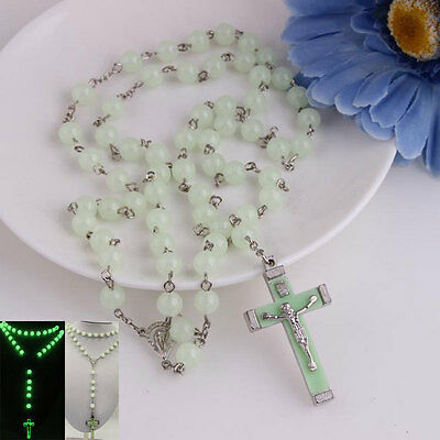New Glow in Dark Plastic Rosary Beads Necklace Catholicism Religious Jewelry