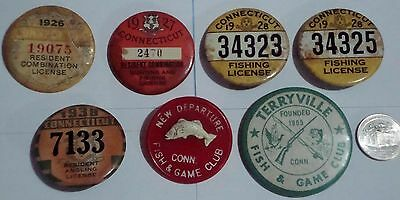 Connecticut Fishing License Lot - 1926,1927,1928 X 2, 1938 & 2 Fish Club Buttons