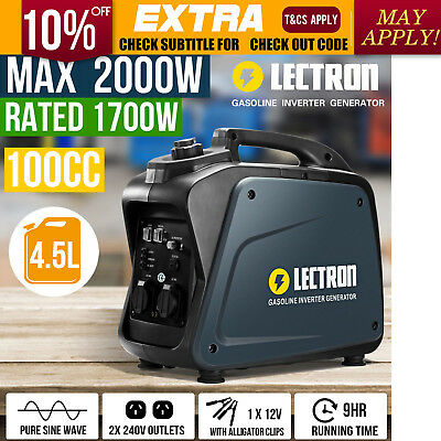 NEW Lectron 2KW Max 1.7KW Rated Portable Digital Inverter Generator Silent Type
