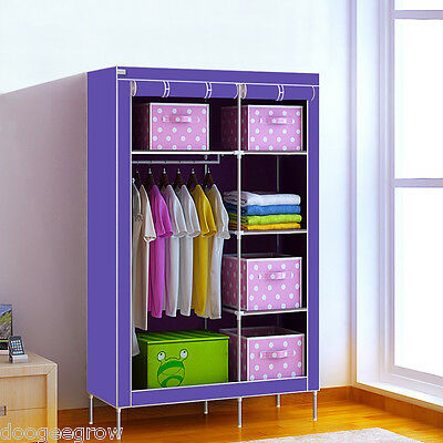Double Fabric Canvas Clothes Storage Organiser Wardrobe Shelves Hanging Cupboard