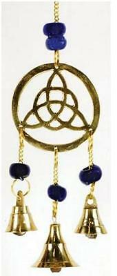 Three Bell Triquettra Brass Wind Chime Good Luck Blessings Prosperity Magick