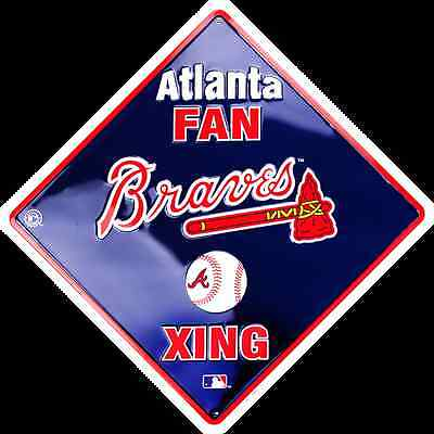 "ATLANTA BRAVES 12 x 12"" EMBOSSED METAL ATLANTA FAN XING CROSSING SIGN TOMAHAWK"