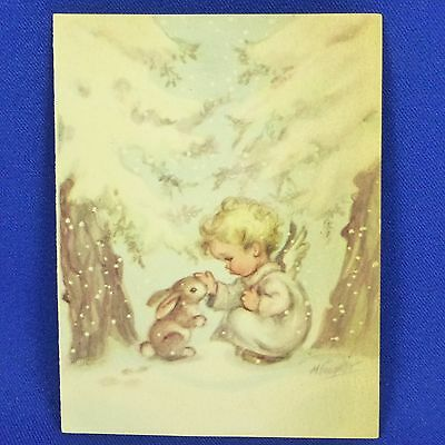 Vintage Marjorie Cooper Rust Craft Christmas Card Angel w/ Rabbit - Used
