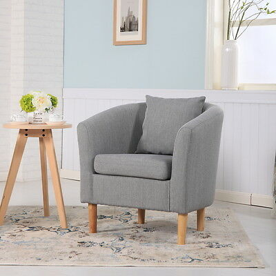 Deluxe Fabric Tub Chair Armchair Dining Living Room Office Hotel - Light Grey