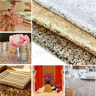 "Gold/Silver/Red Glitter Sequin Table Runner Sparkly Wedding Party Decor 12""x79"""