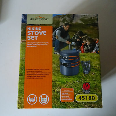 Adventuridge Hiking stove and pot set for use with propane/butane gas canister