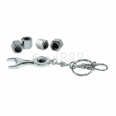 4x Silver Chrome Car Wheel Tire Valve Caps With Mini Wrench Keychain For Nissan
