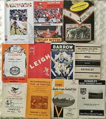 11 KEIGHLEY RLFC. Away Programmes 1950s - 1990s.